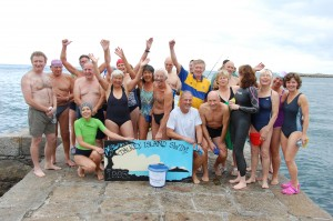 The hardy bunch who took part in the 2013 Dalkey Island Swim